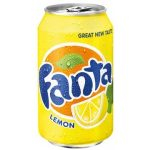 Fanta Lemon soft drink available on private jets catered by JetMenus